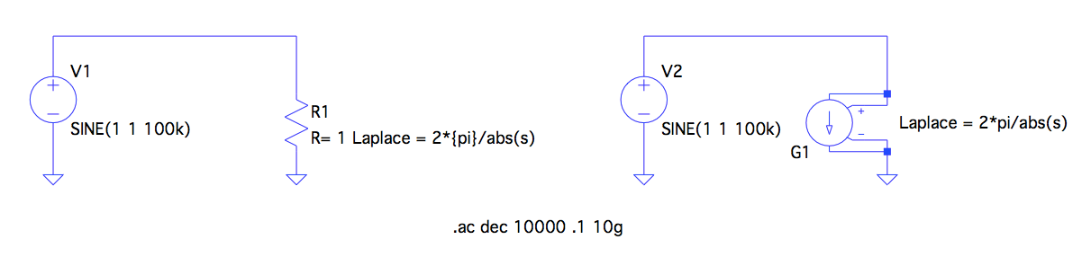 Frequency dependent resistor circuit